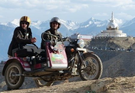 "<h3>Their way or the highway</h3>They quickly revived their love for the road; after all, we know how addictive it is! This sidecar <a href=""https://www.vintagerides.travel/motorcycle-tour/india-himalaya/"">motorcycle tour in Himalaya</a> was just the start of many adventures with Vintage Rides. In summer 2016, East Side Story was born in Mongolia. In partnership with Jean's business, Alternative Side-Car, Vintage Rides offered its first sidecar tours to riders wishing to cross the steppes on these unique motorcycles: Jean's Yeti sidecars attached to Royal Enfields. ""I've always worked with my dad at one time or another and this is when I got to know Vintage Rides better and I got a real feel for working as a travel agent,"" he explained. Then, some months later, it was Gene who had his eye on another crazy project: Frozen Ride, a dream shared by both Jean and Alex, which became a reality in winter 2017 on Lake Khövsgöl in Mongolia. ""We had plenty of experience fixing sidecars to classic motorcycles, but never had we ridden one on a frozen lake! That was a real first!"""